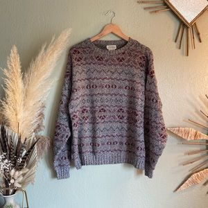 Vintage St. John's bay Gray and burgundy sweater
